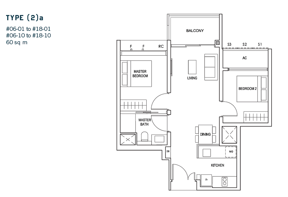 Penrose review, 2 bedroom floor plan. One of the cheapest psf in district 14, RCR