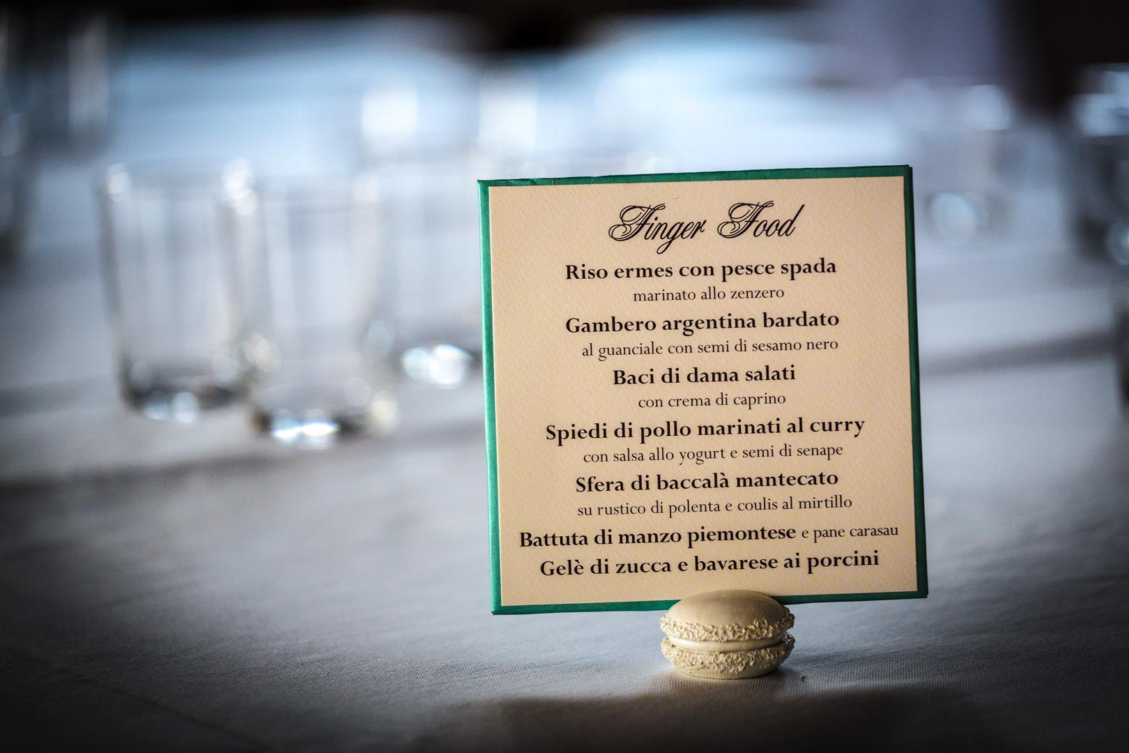 Wedding Dinner Menu - Tiffany Theme