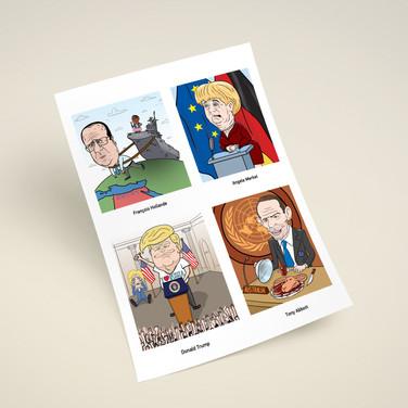 Карикатуры на политических деятелей для настенного календаря