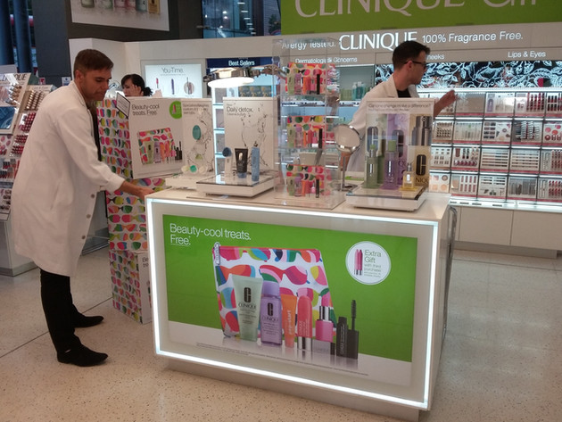 Clinique counter and window display