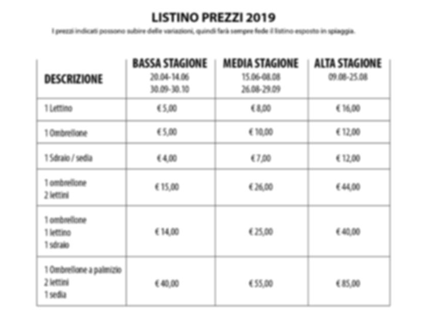 Listino Punta della Suina 2019