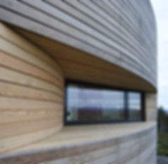 Russwood Siberian Larch porteous architects window cladding curved