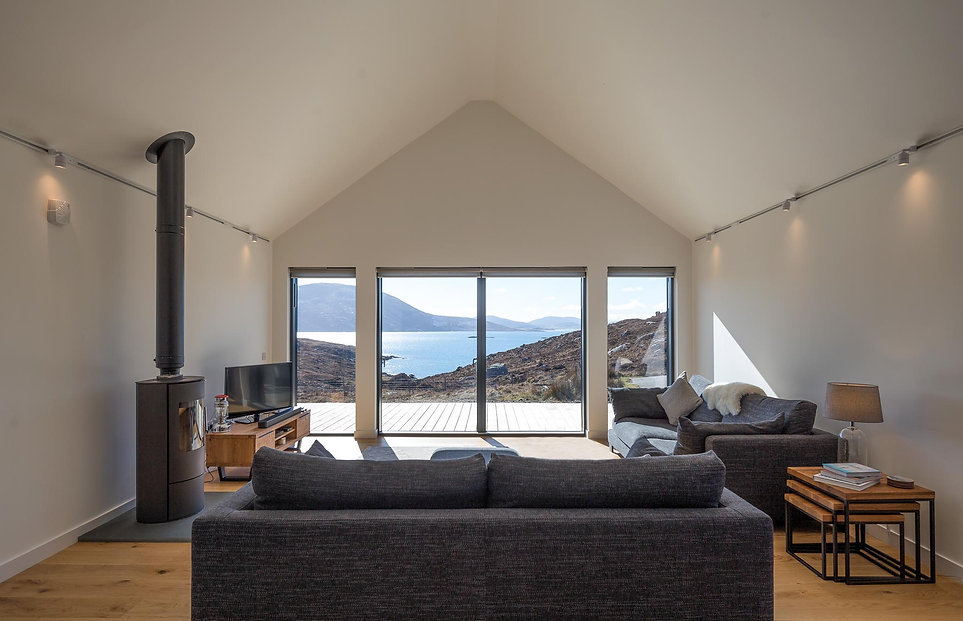 house interior stove sea view modern
