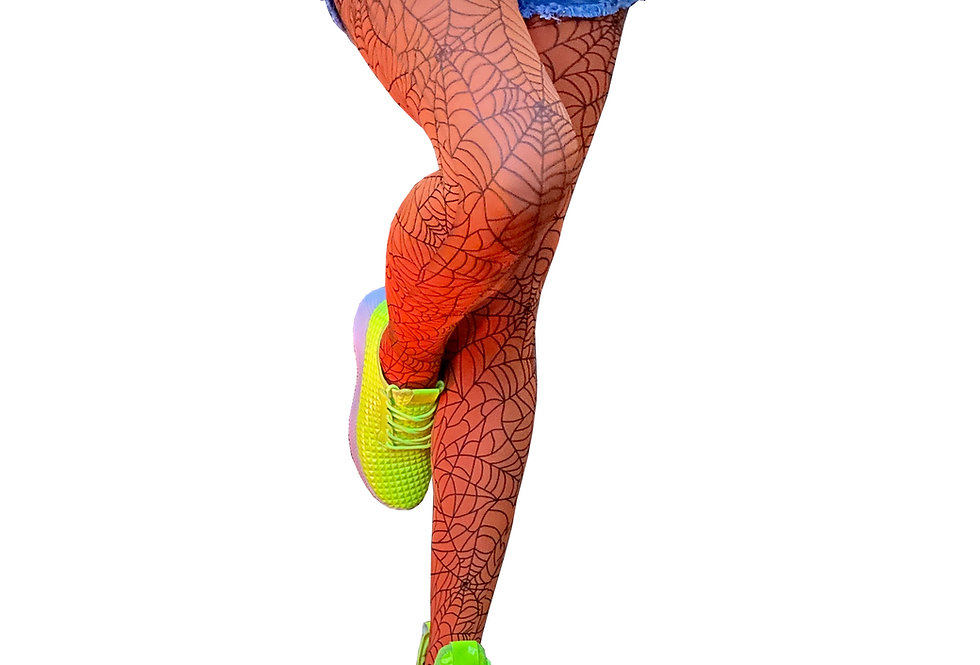 Neon Orange Tights Spider Webs for Women