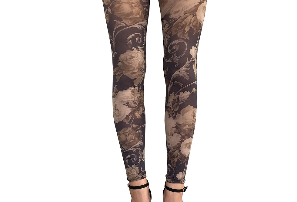 Beige Floral Footless Tights for Women