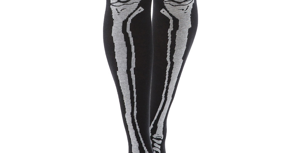 Black and White Cotton Tube Socks Goth Bones