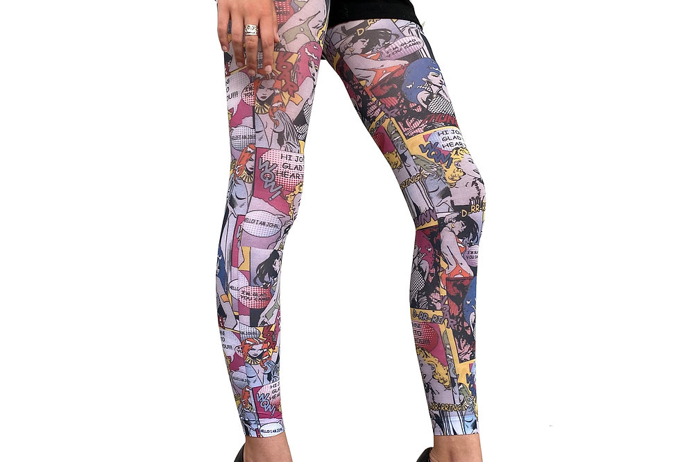 Patterned Footless Tights Comics for Women