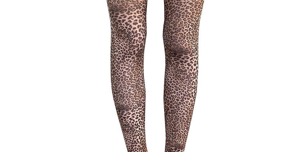 Petite Leopard Patterned Footless Tights for Women