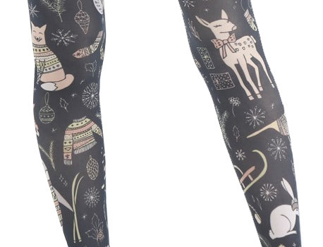 Christmas Woodland animal Patterned Tights for all Women