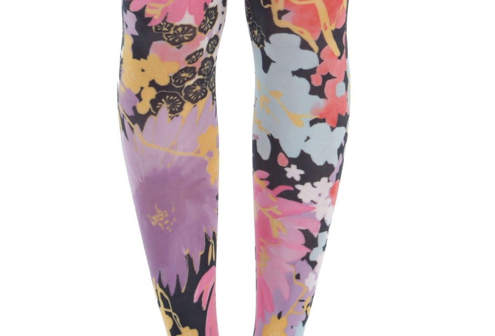 Floral Footless Tights Freesia for Women