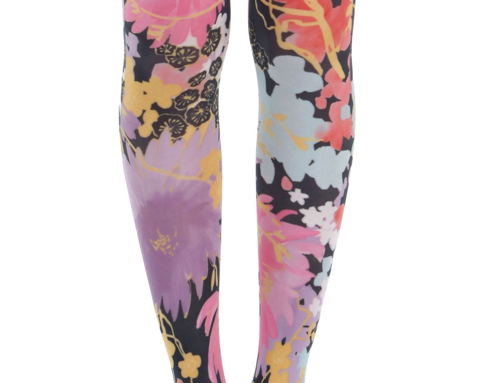 Colorful Floral Opaque Patterned Footless Tights Freesia for Women