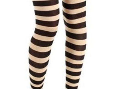 Off White Striped footless Tights for women, opaque ankle length