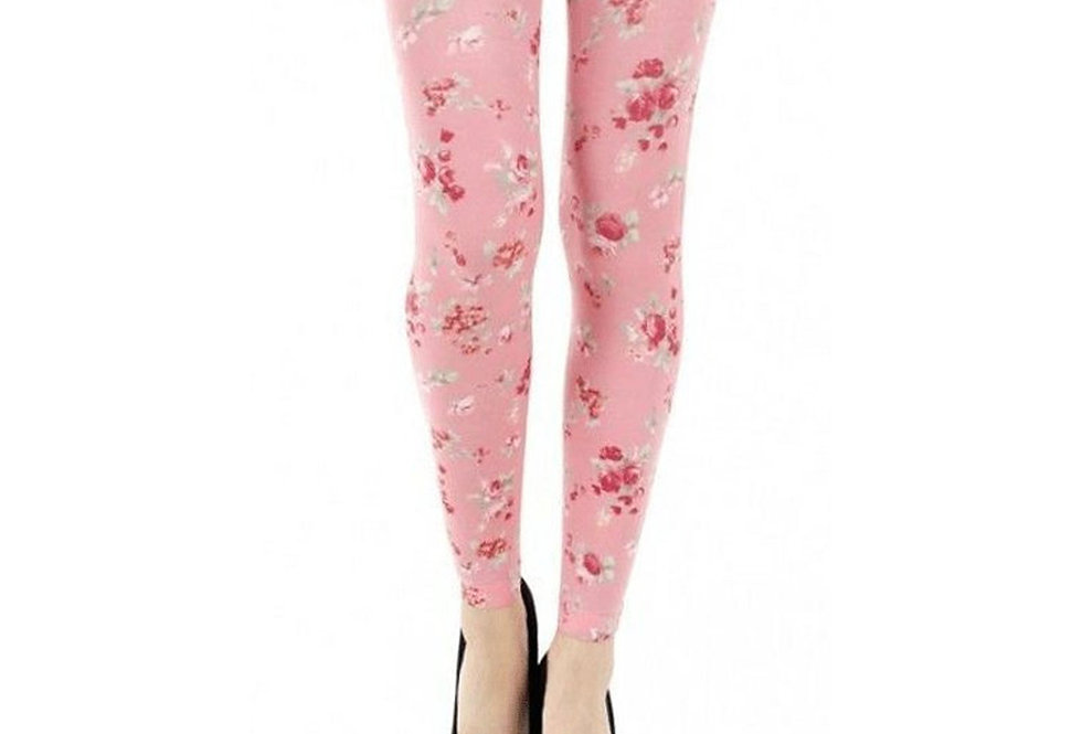 Pink Floral Patterned Footless Tights Ditsy for Women Malka Chic