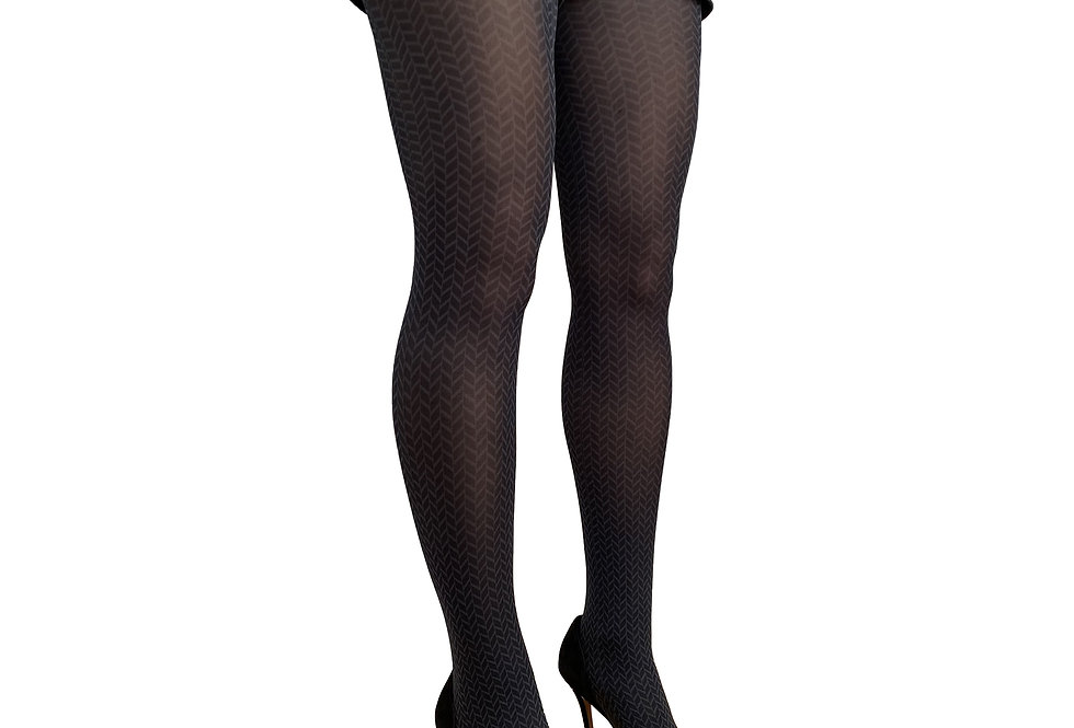 Black and Gray Herringbone Patterned tights Malka Chic