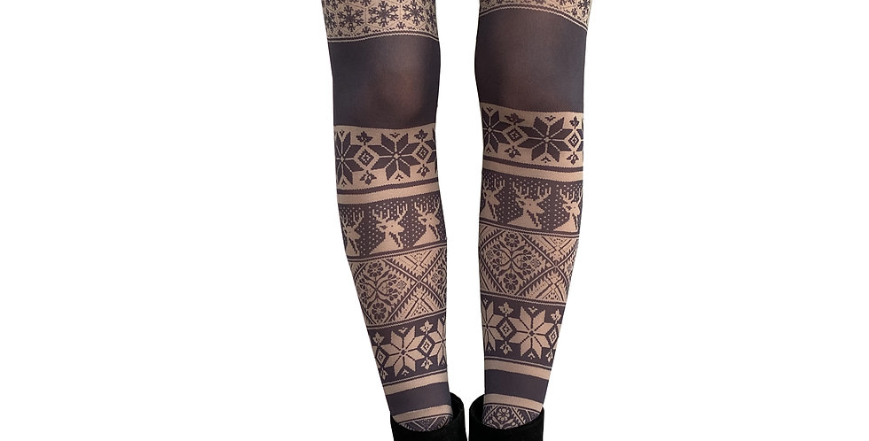 Beige Patterned Tights Winter Style Fair Isle for Women