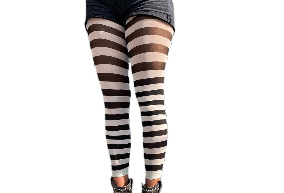 White Striped footless Tights for women