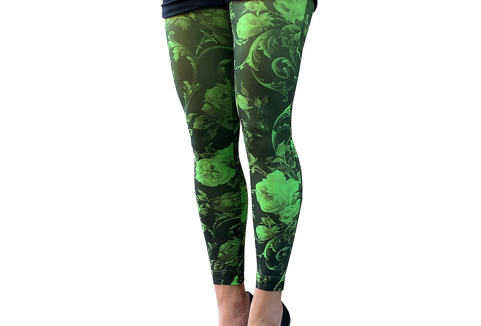 Green Floral Footless Tights for Women Malka Chic