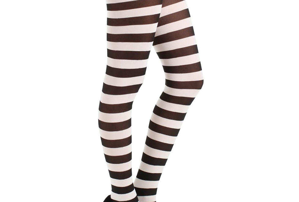 White Striped Opaque Tights for Women
