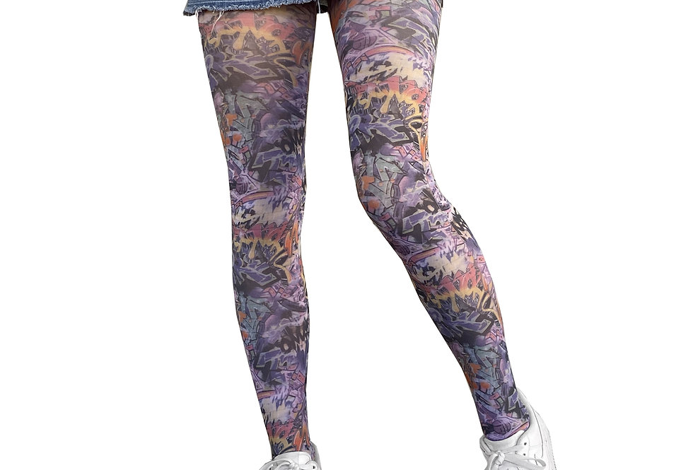 Street Art Patterned Tights for Women