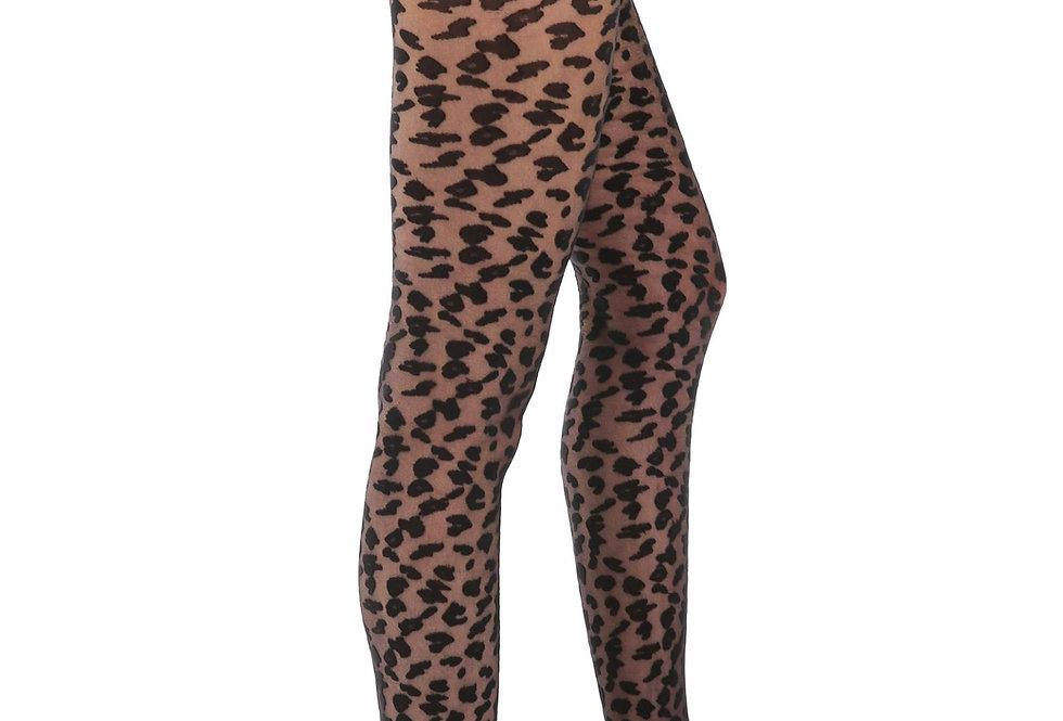 Black Sheer Leopard Tights Control Top Pantyhose