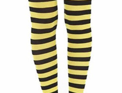 Yellow Striped footless Tights for women, opaque ankle length