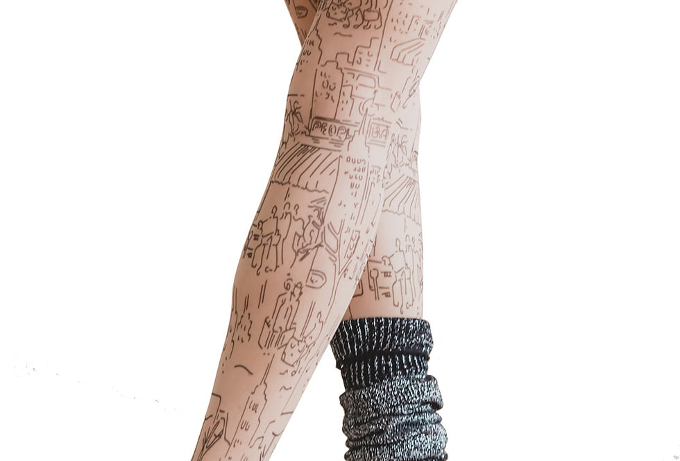 Light Nude Sheer Tights fake Tattoo City for Women