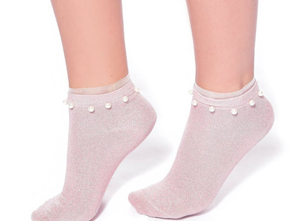 Light pink glitter cotton ankle socks with pearl for women
