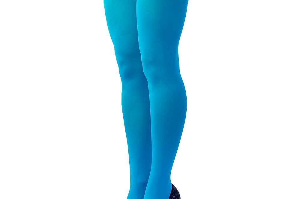 Turquoise Blue Opaque Tights for Women