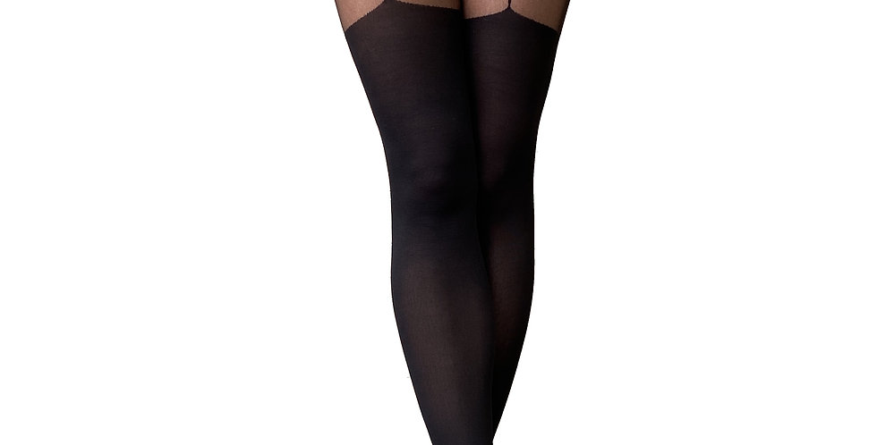 Black Cross Illusion Thigh High for Women