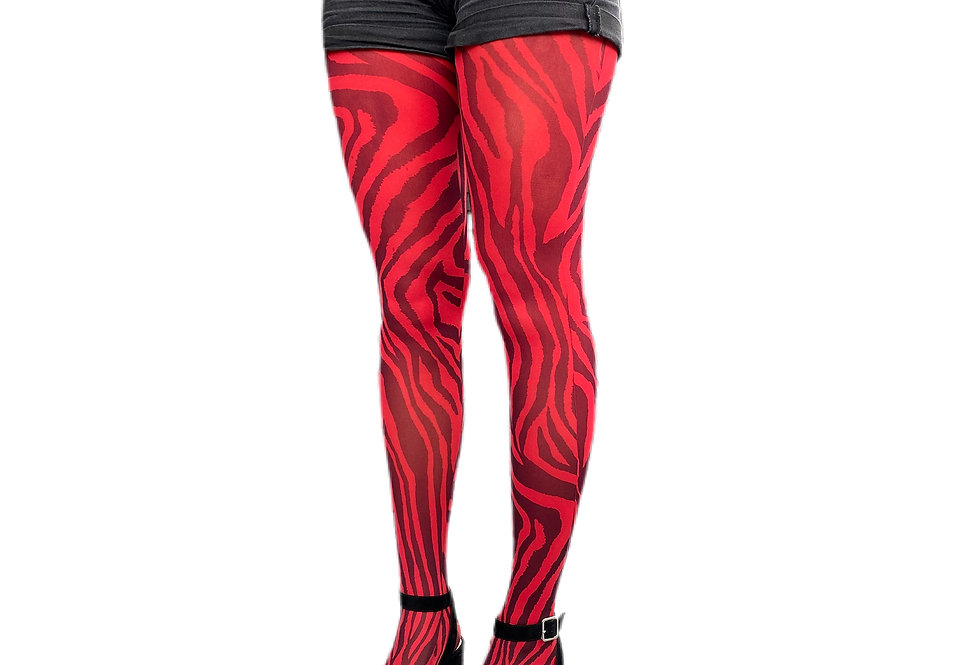 Red Zebra Tights for Women