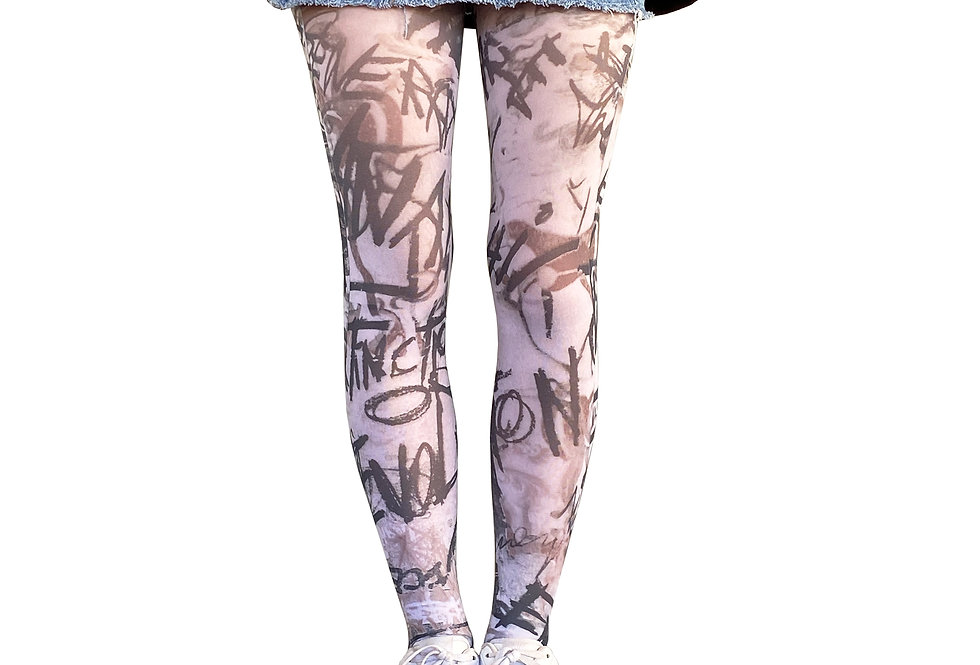 Graffiti Patterned Tights for Women