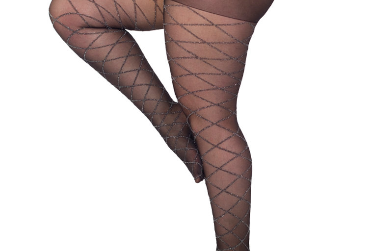 Black Silver Diamond Sheer tights Plus Size