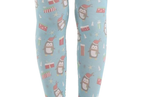 Christmas Penguin light blue Patterned Footless Tights for all Women