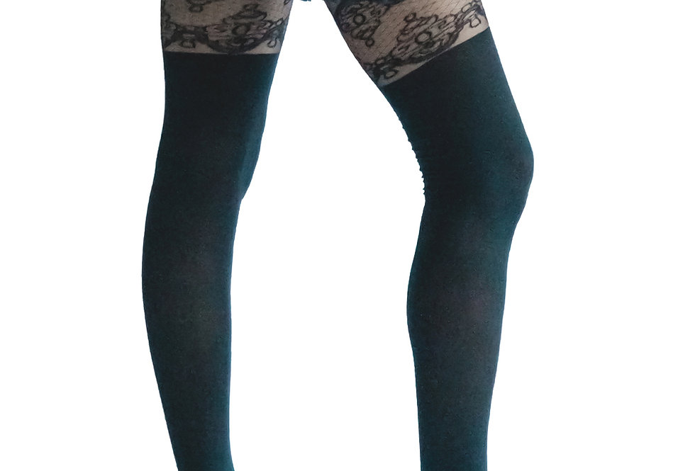 Black Sheer Opaque Lacy Tights