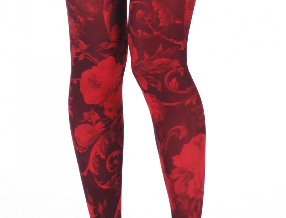 Red and Black Floral Patterned Tights for Women