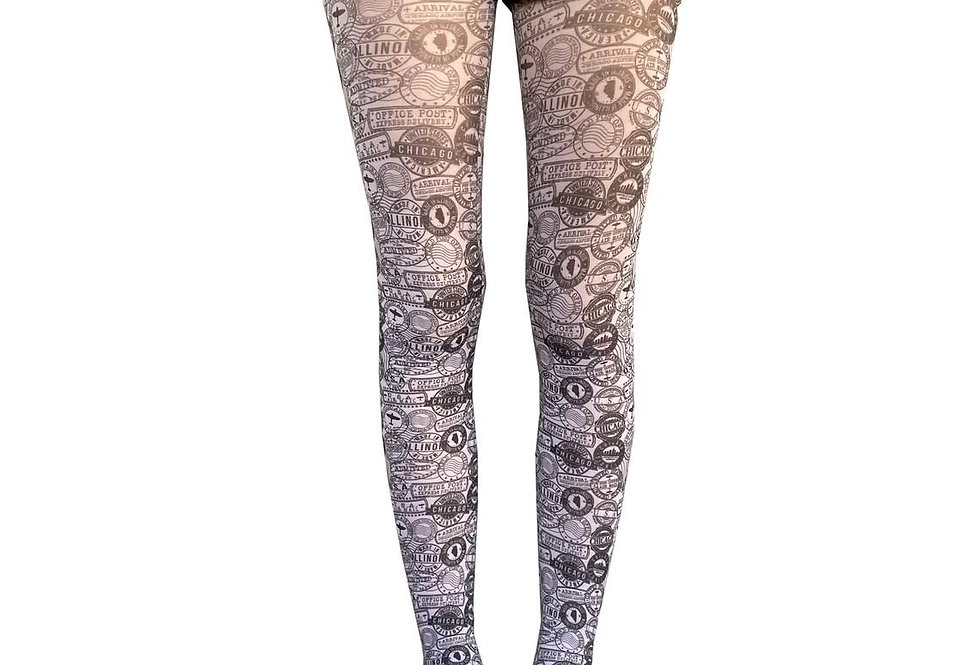 black and white stamps patterned tights for women