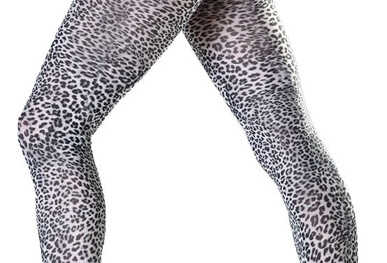 White Petite Leopard Patterned Tights for Women
