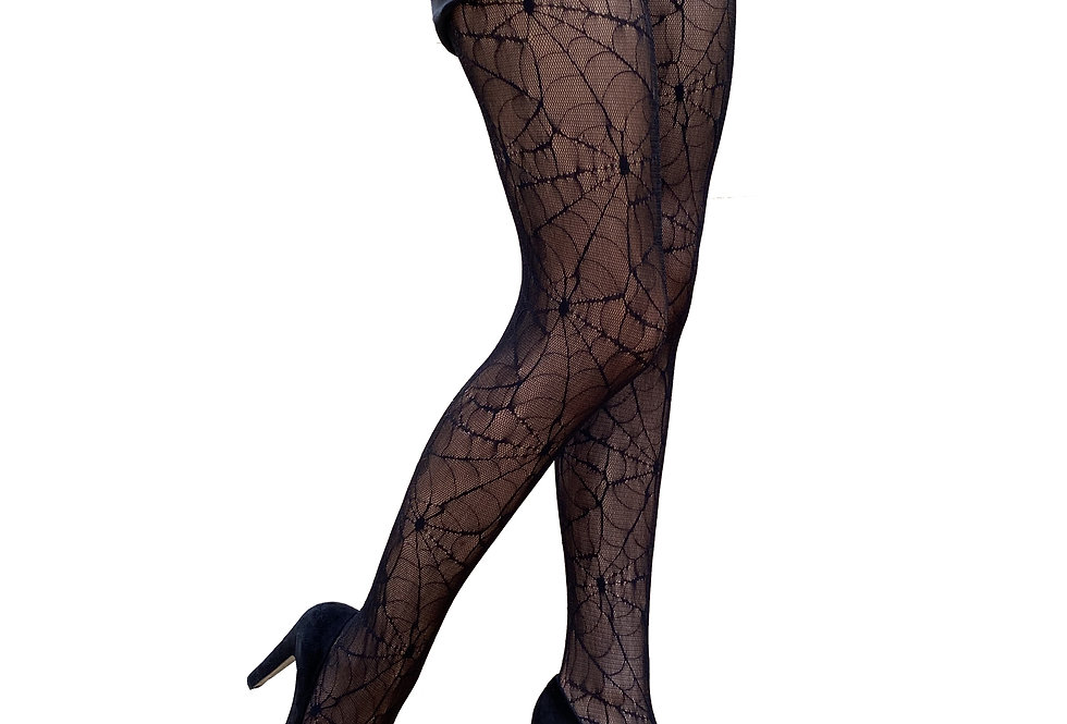Black Goth Lace Tights Spider Web for Women