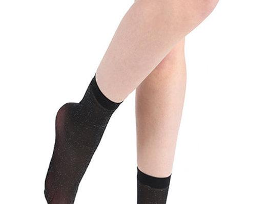 Black and Silver Glitter Socks for women