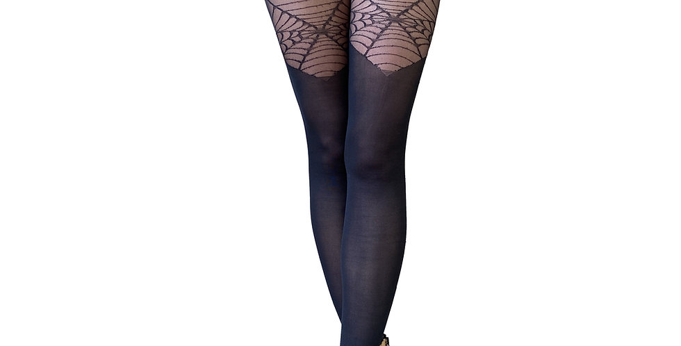 Black Spider Web Illusion Thigh High for Women