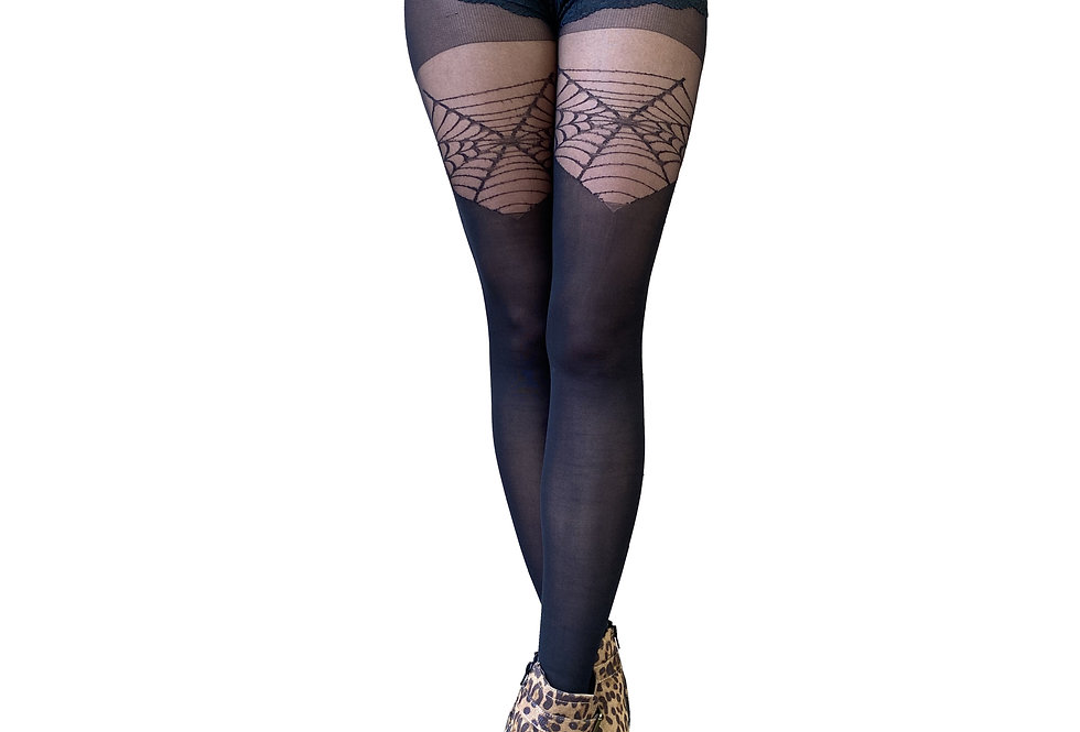 Black Web Illusion Thigh High for Women