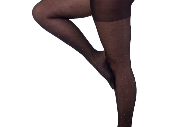 Black Silver Glitter Dotted tights Plus Size