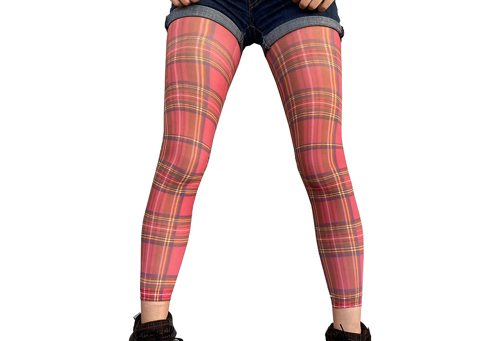 Red Plaid Footless Tights for Women