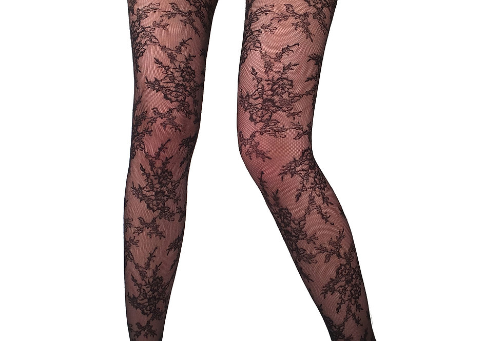Black Floral Lace Tights Blossom for Women