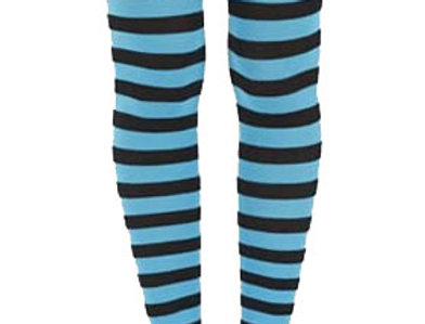 Turquoise Striped footless Tights for women, opaque ankle length