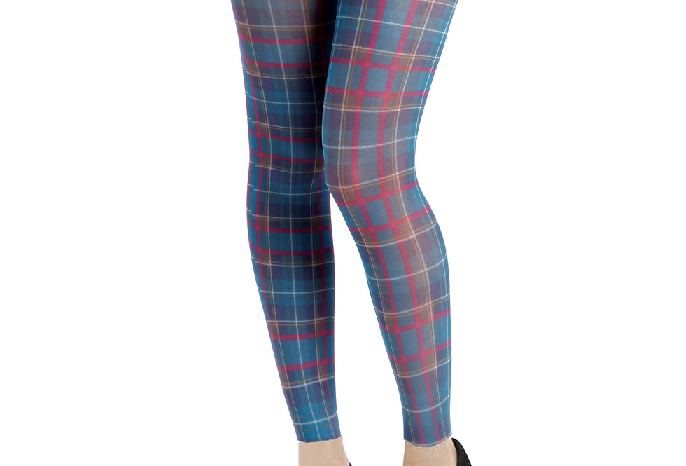 Teal Plaid Footless Tights for Women Malka Chic