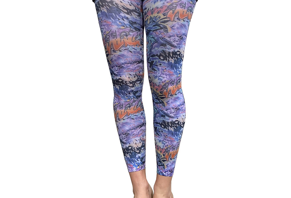 Street Art Footless Tights for Women Malka Chic