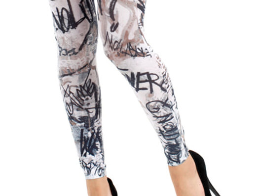 Patterned Footless Tights Graffiti for Women