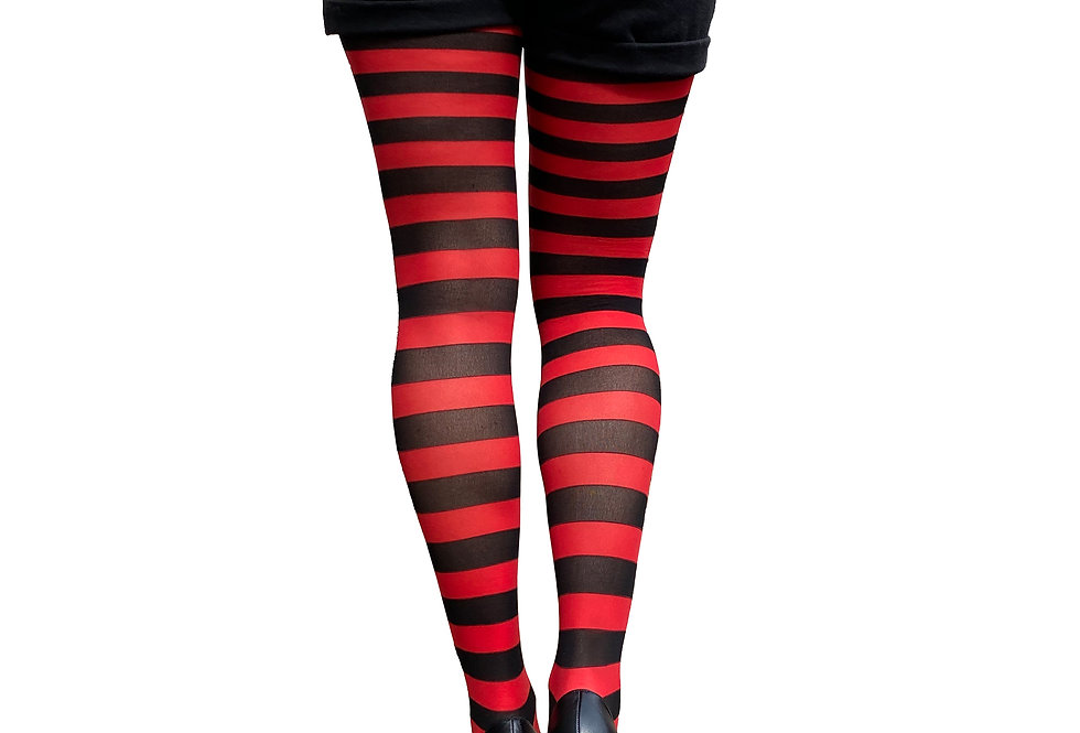 Red Striped Opaque Tights for Women Malka Chic