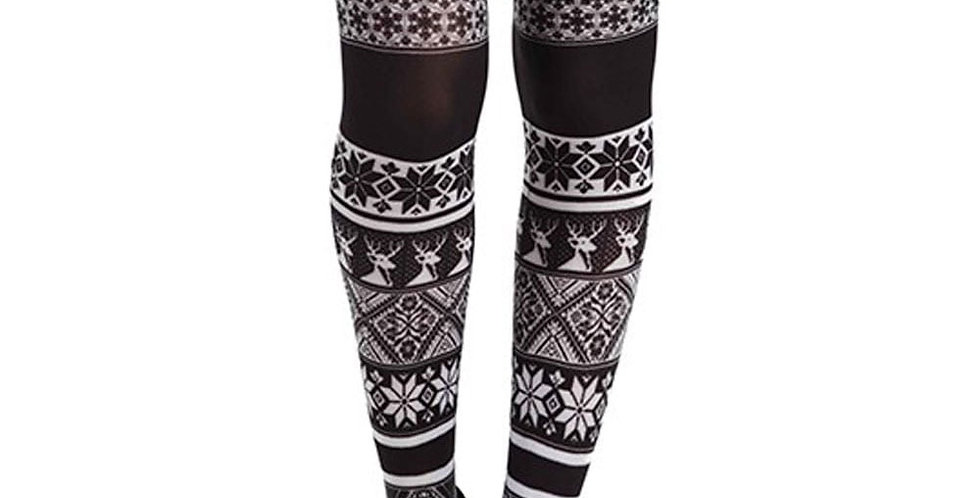 Black and White Patterned Tights Winter Fair Isle for Women
